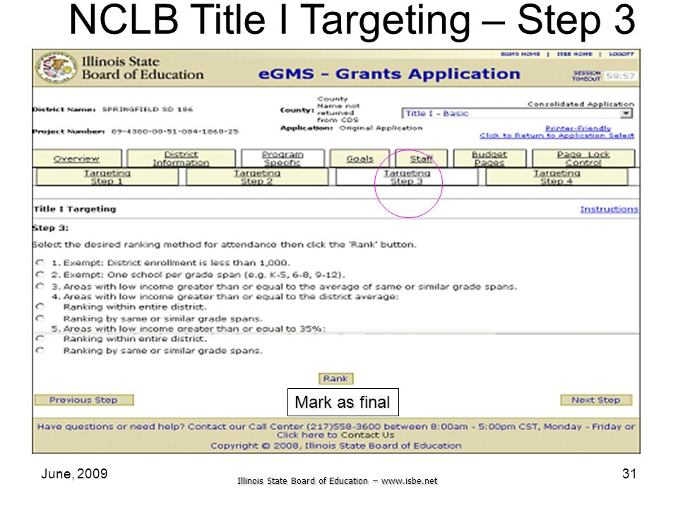 Illinois State Board of Education –   June, NCLB Title I Targeting – Step 3 Mark as final