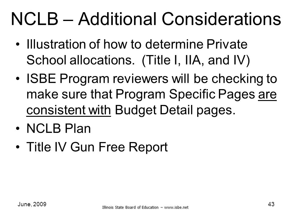 Illinois State Board of Education –   June, NCLB – Additional Considerations Illustration of how to determine Private School allocations.