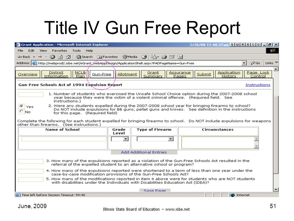 Illinois State Board of Education –   June, Title IV Gun Free Report