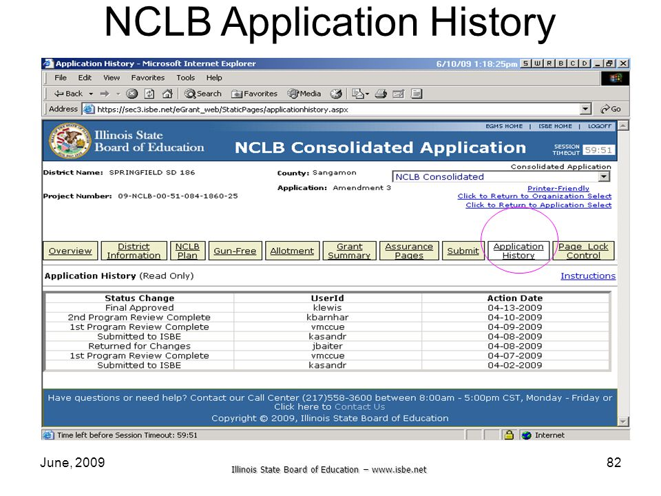Illinois State Board of Education –   June, NCLB Application History