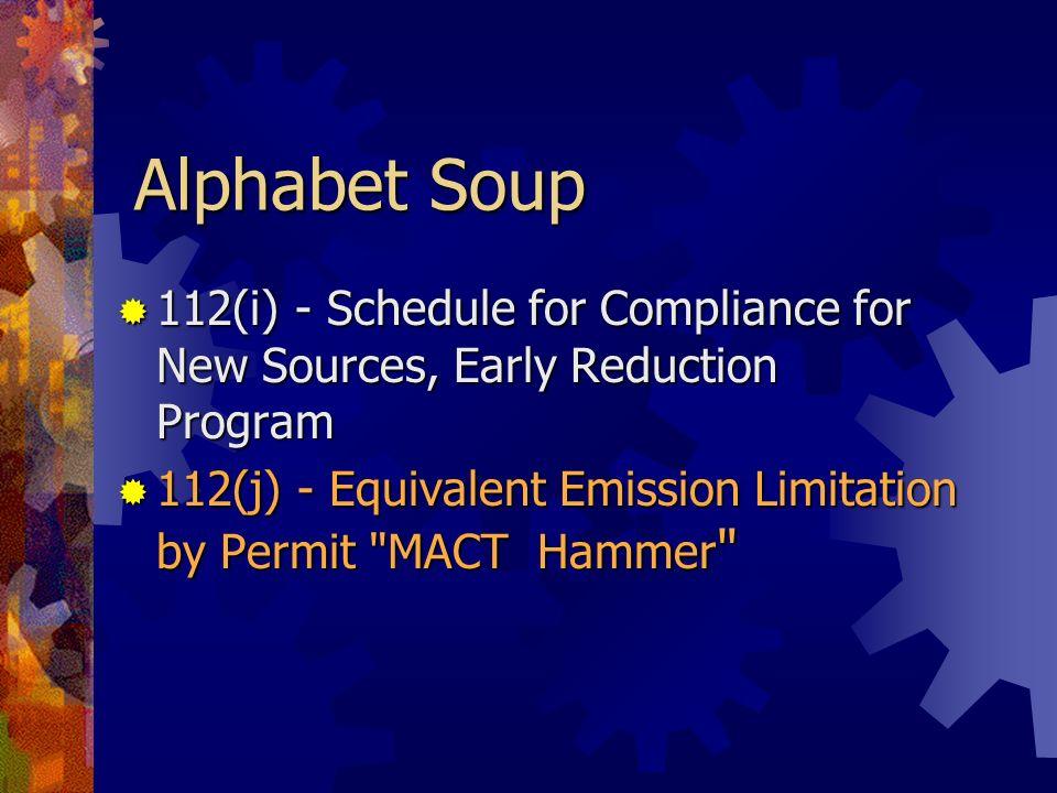 Alphabet Soup 112(k) - Urban Air Toxics Strategy 112(k) - Urban Air Toxics Strategy 112(l) - State Programs: Delegation of Implementation & Enforcement Authority 112(l) - State Programs: Delegation of Implementation & Enforcement Authority