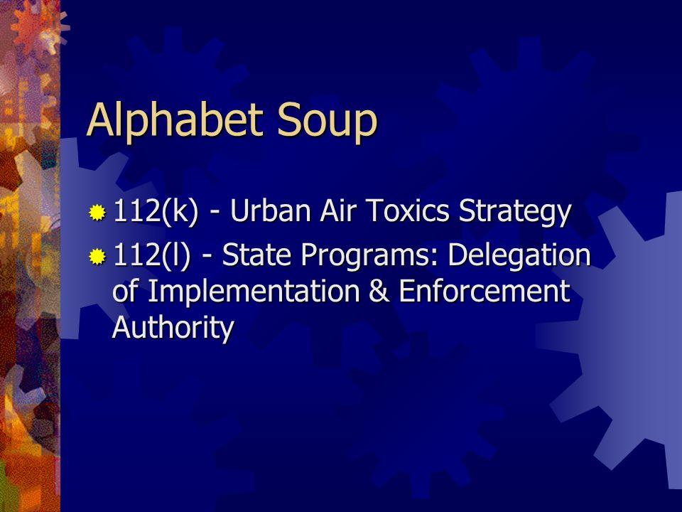 Alphabet Soup 112(k) - Urban Air Toxics Strategy 112(k) - Urban Air Toxics Strategy 112(l) - State Programs: Delegation of Implementation & Enforcemen