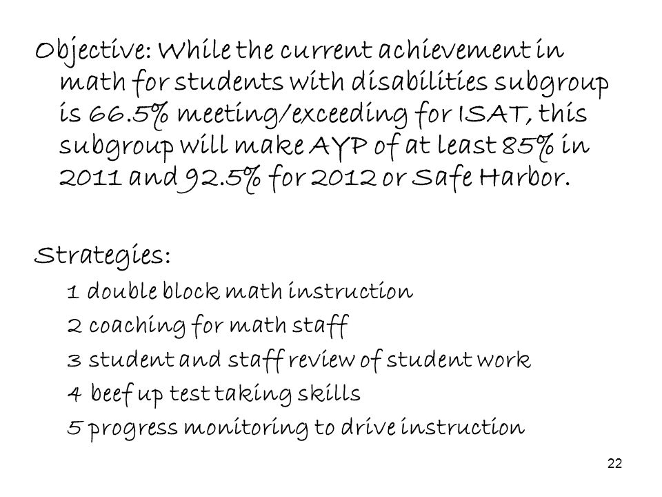22 Objective: While the current achievement in math for students with disabilities subgroup is 66.5% meeting/exceeding for ISAT, this subgroup will ma