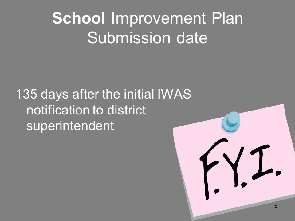 5 School Improvement Plan Submission date 135 days after the initial IWAS notification to district superintendent