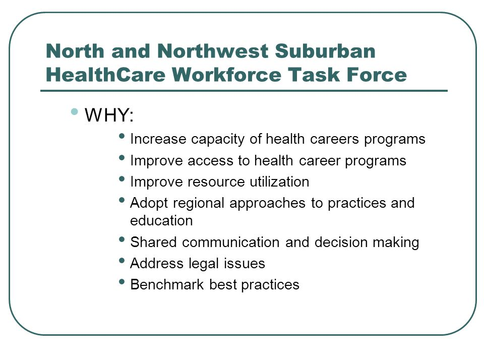 North and Northwest Suburban HealthCare Workforce Task Force WHY: Increase capacity of health careers programs Improve access to health career programs Improve resource utilization Adopt regional approaches to practices and education Shared communication and decision making Address legal issues Benchmark best practices