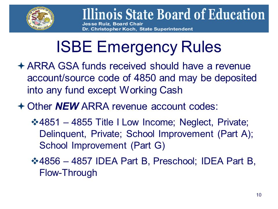 10 ISBE Emergency Rules ARRA GSA funds received should have a revenue account/source code of 4850 and may be deposited into any fund except Working Cash Other NEW ARRA revenue account codes: 4851 – 4855 Title I Low Income; Neglect, Private; Delinquent, Private; School Improvement (Part A); School Improvement (Part G) 4856 – 4857 IDEA Part B, Preschool; IDEA Part B, Flow-Through