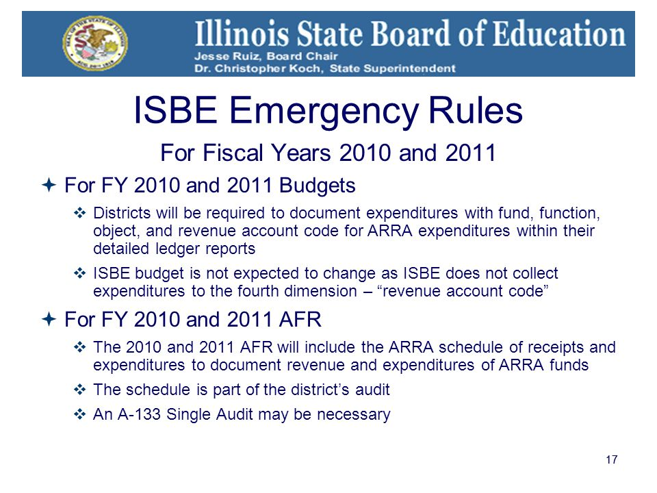 17 ISBE Emergency Rules For Fiscal Years 2010 and 2011 For FY 2010 and 2011 Budgets Districts will be required to document expenditures with fund, fun