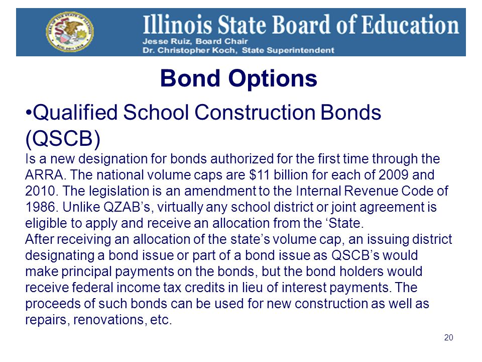 20 Qualified School Construction Bonds (QSCB) Is a new designation for bonds authorized for the first time through the ARRA.