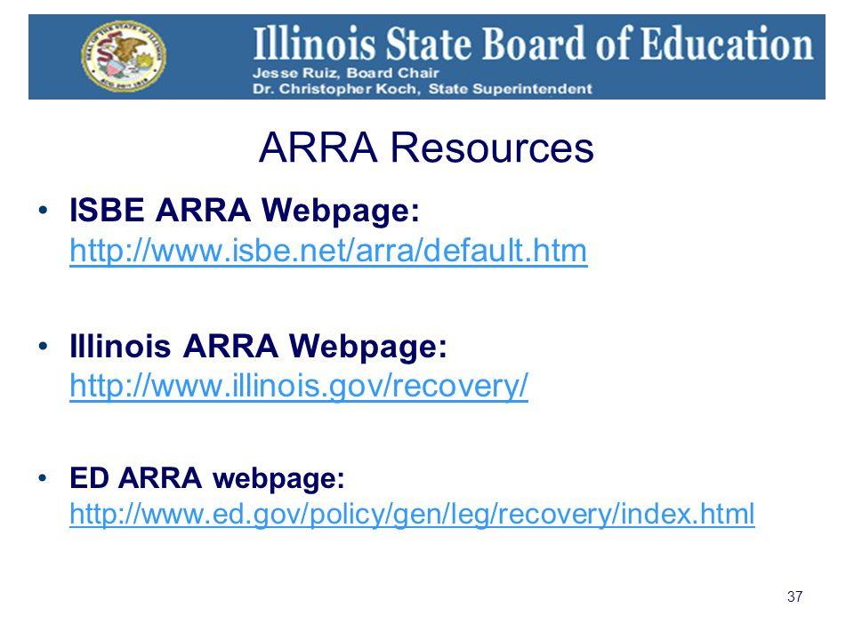 37 ARRA Resources ISBE ARRA Webpage: http://www.isbe.net/arra/default.htm http://www.isbe.net/arra/default.htm Illinois ARRA Webpage: http://www.illin