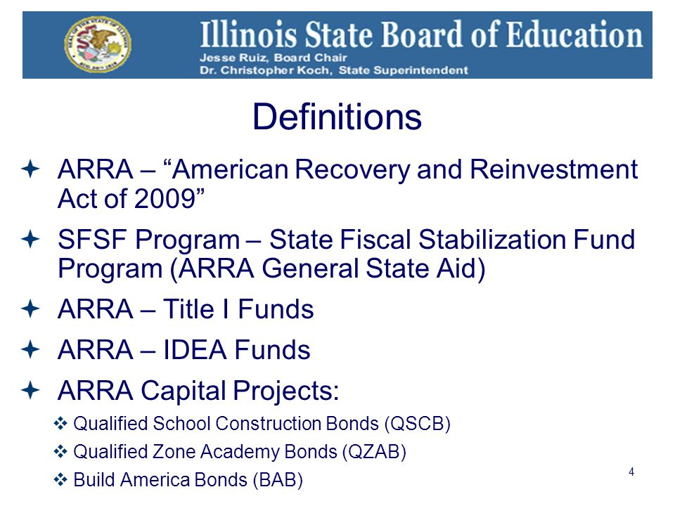 4 Definitions ARRA – American Recovery and Reinvestment Act of 2009 SFSF Program – State Fiscal Stabilization Fund Program (ARRA General State Aid) ARRA – Title I Funds ARRA – IDEA Funds ARRA Capital Projects: Qualified School Construction Bonds (QSCB) Qualified Zone Academy Bonds (QZAB) Build America Bonds (BAB)