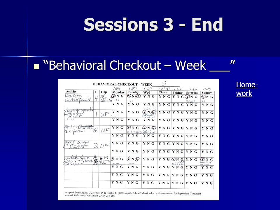 Sessions 3 - End Behavioral Checkout – Week ___ Behavioral Checkout – Week ___ Home- work
