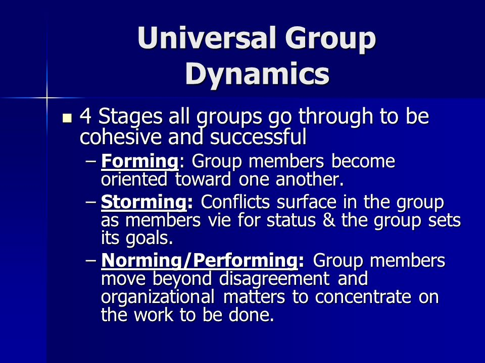 Universal Group Dynamics Forming – Forming – –Initial stage: Members develop an in or out feeling.