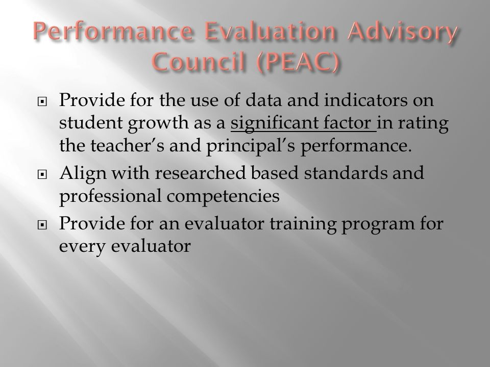 Provide for the use of data and indicators on student growth as a significant factor in rating the teachers and principals performance.