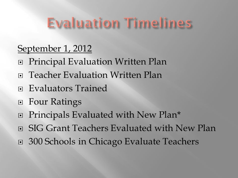 September 1, 2012 Principal Evaluation Written Plan Teacher Evaluation Written Plan Evaluators Trained Four Ratings Principals Evaluated with New Plan* SIG Grant Teachers Evaluated with New Plan 300 Schools in Chicago Evaluate Teachers