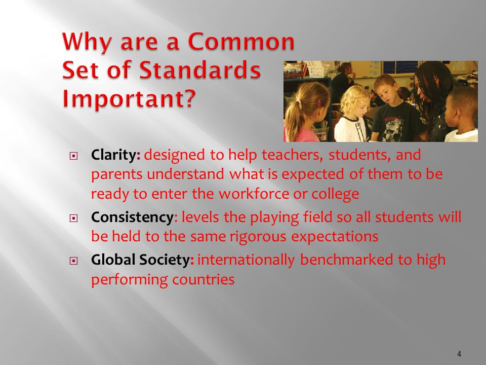 4 Why are a Common Set of Standards Important.