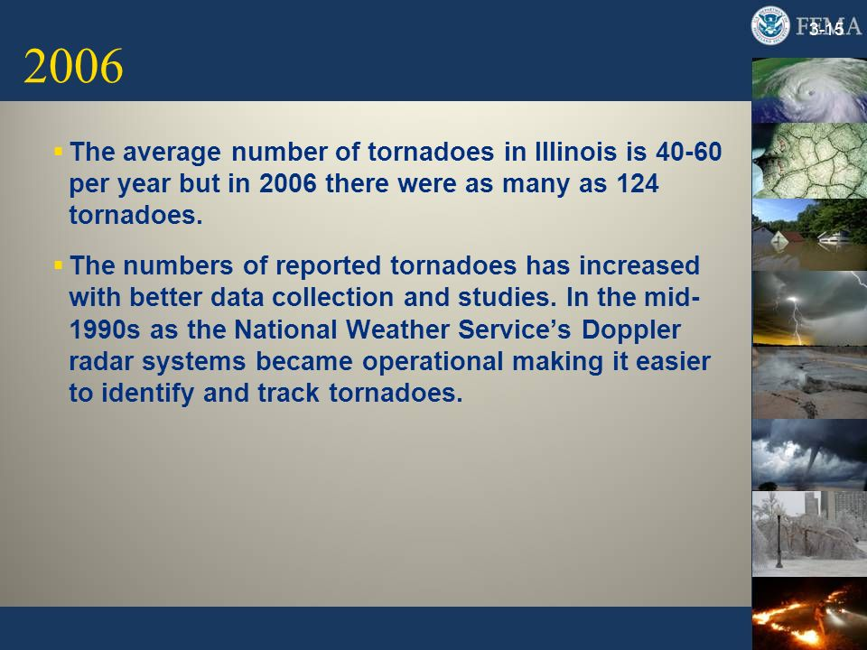 2006 3-15 The average number of tornadoes in Illinois is 40-60 per year but in 2006 there were as many as 124 tornadoes. The numbers of reported torna