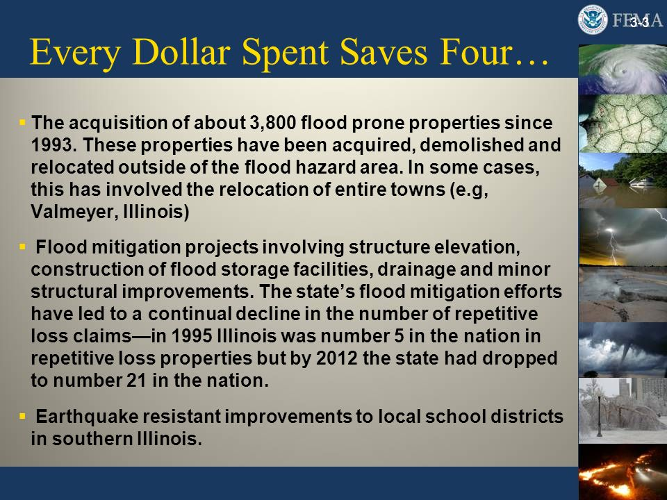 Every Dollar Spent Saves Four… The acquisition of about 3,800 flood prone properties since 1993. These properties have been acquired, demolished and r