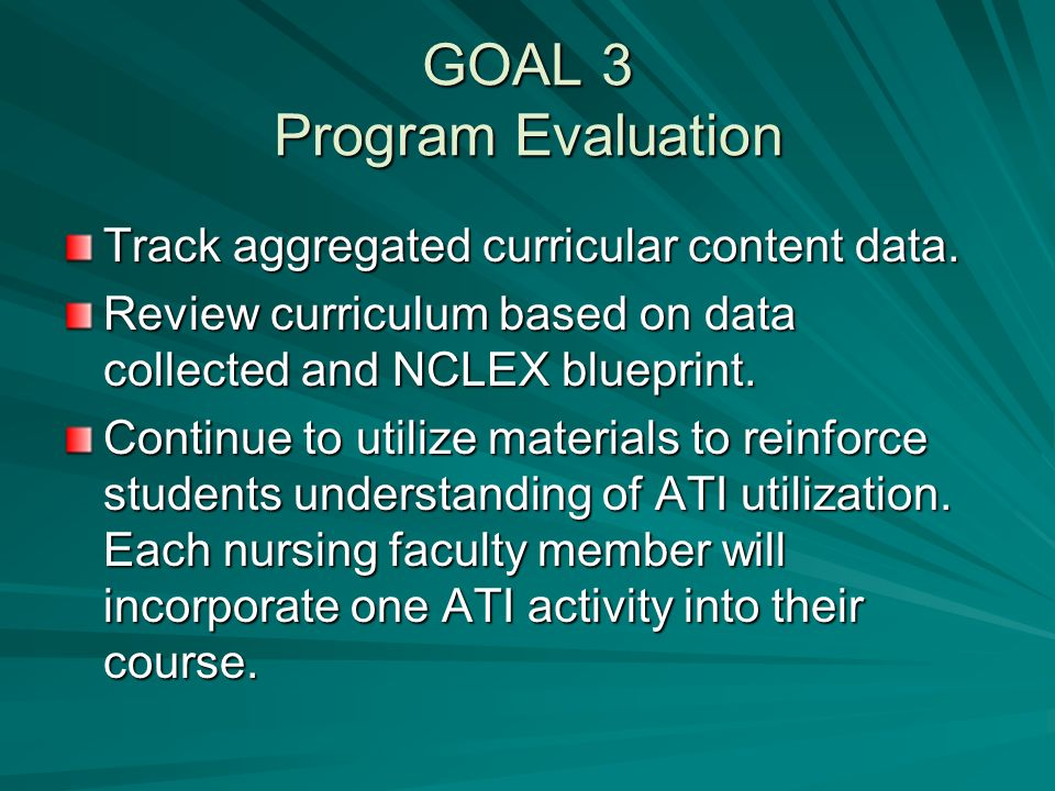 GOAL 3 Program Evaluation Track aggregated curricular content data.