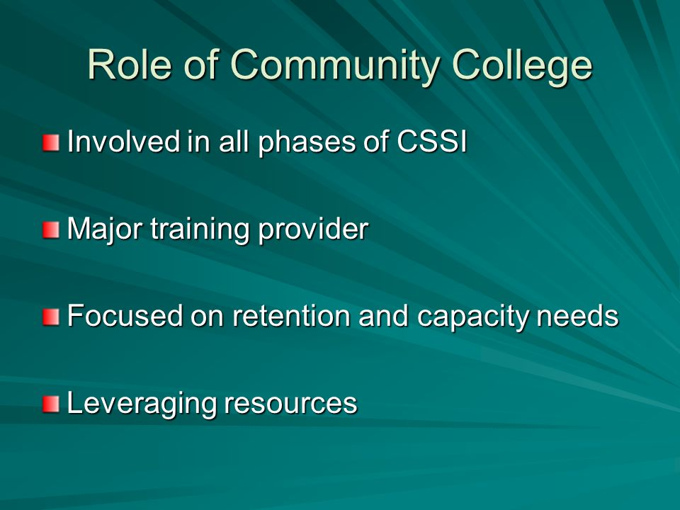 Role of Community College Involved in all phases of CSSI Major training provider Focused on retention and capacity needs Leveraging resources