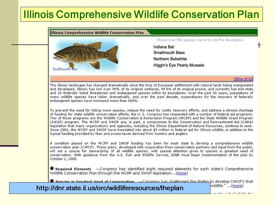 Illinois Comprehensive Wildlife Conservation Plan http://dnr.state.il.us/orc/wildliferesources/theplan