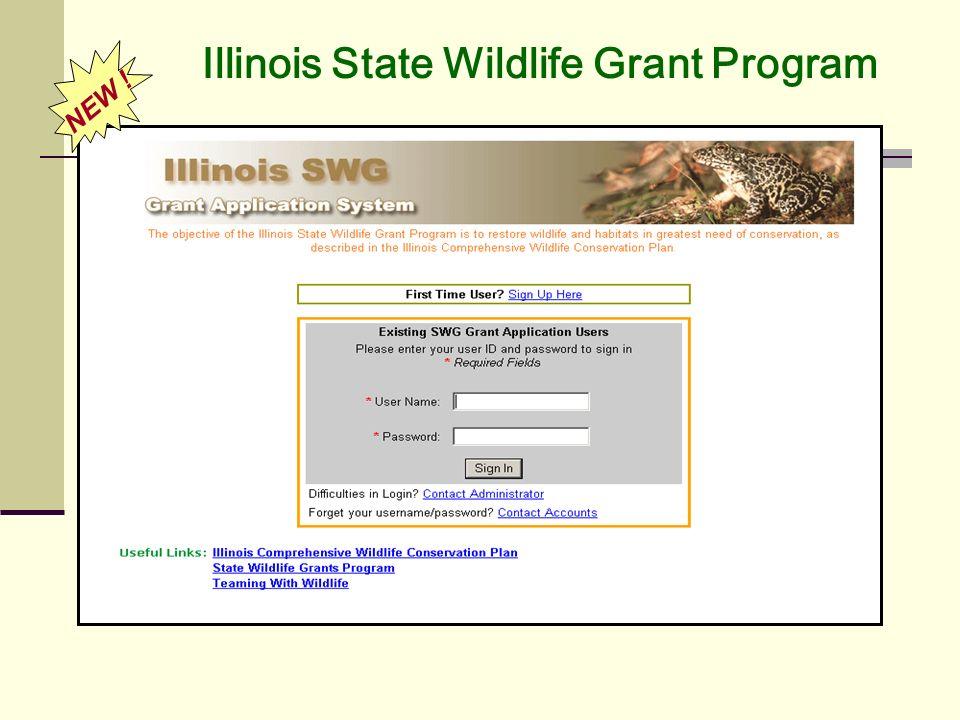 Illinois State Wildlife Grant Program NEW !