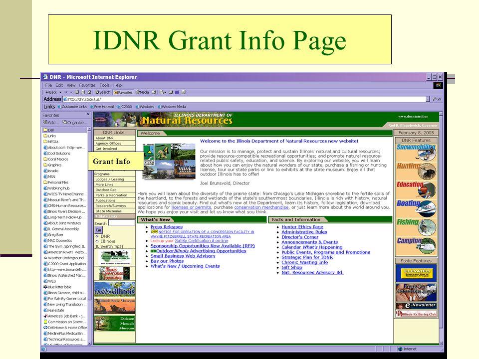 IDNR Grant Info Page Grant Info