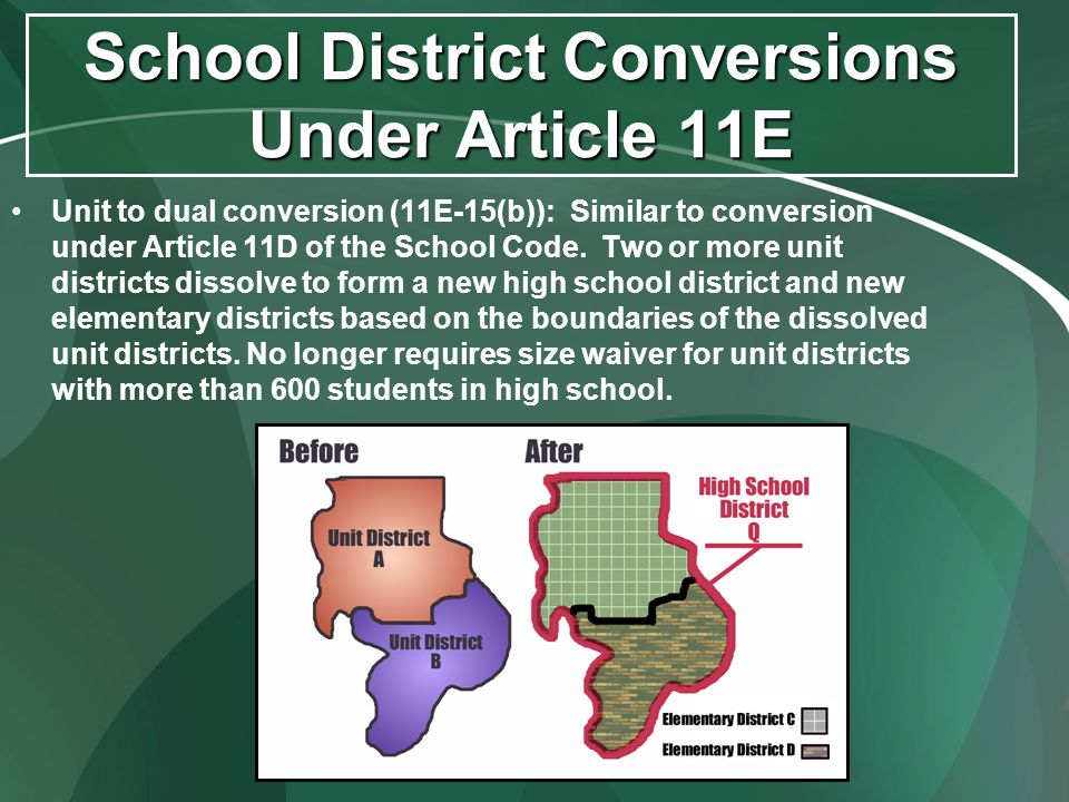 School District Conversions Under Article 11E Unit to dual conversion (11E-15(b)): Similar to conversion under Article 11D of the School Code. Two or