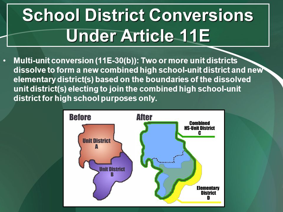 School District Conversions Under Article 11E Multi-unit conversion (11E-30(b)): Two or more unit districts dissolve to form a new combined high schoo