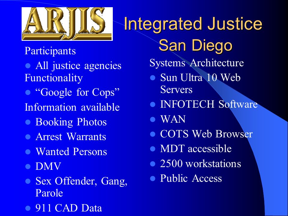 Integrated Justice San Diego Integrated Justice San Diego Participants All justice agencies Functionality Google for Cops Information available Booking Photos Arrest Warrants Wanted Persons DMV Sex Offender, Gang, Parole 911 CAD Data Systems Architecture Sun Ultra 10 Web Servers INFOTECH Software WAN COTS Web Browser MDT accessible 2500 workstations Public Access
