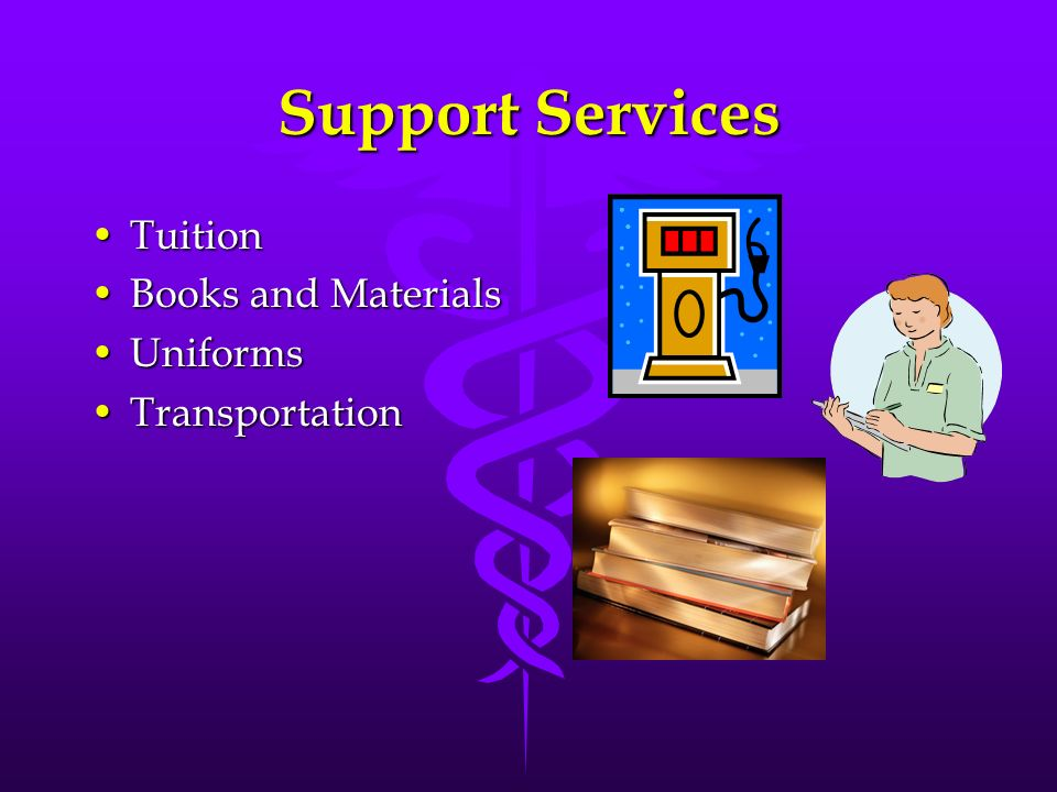 Support Services TuitionTuition Books and MaterialsBooks and Materials UniformsUniforms TransportationTransportation