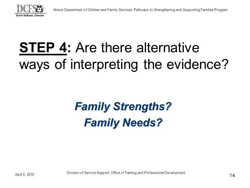 Illinois Department of Children and Family Services, Pathways to Strengthening and Supporting Families Program April 5, 2010 Division of Service Support, Office of Training and Professional Development 14 STEP 4: Are there alternative ways of interpreting the evidence.