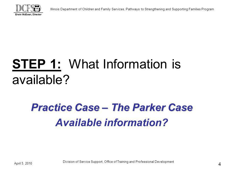 Illinois Department of Children and Family Services, Pathways to Strengthening and Supporting Families Program April 5, 2010 Division of Service Support, Office of Training and Professional Development 4 STEP 1: What Information is available.