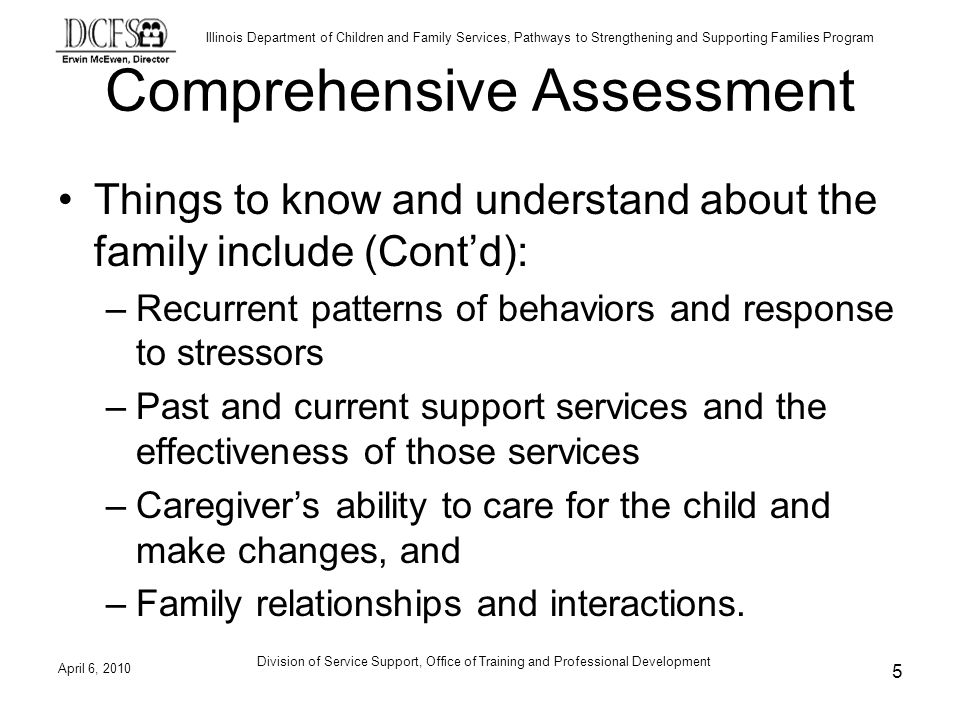 Illinois Department of Children and Family Services, Pathways to Strengthening and Supporting Families Program Comprehensive Assessment Things to know and understand about the family include (Contd): –Recurrent patterns of behaviors and response to stressors –Past and current support services and the effectiveness of those services –Caregivers ability to care for the child and make changes, and –Family relationships and interactions.