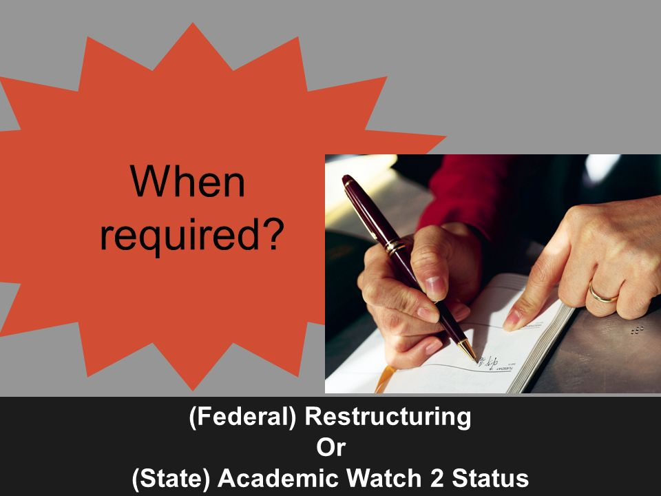 When required (Federal) Restructuring Or (State) Academic Watch 2 Status