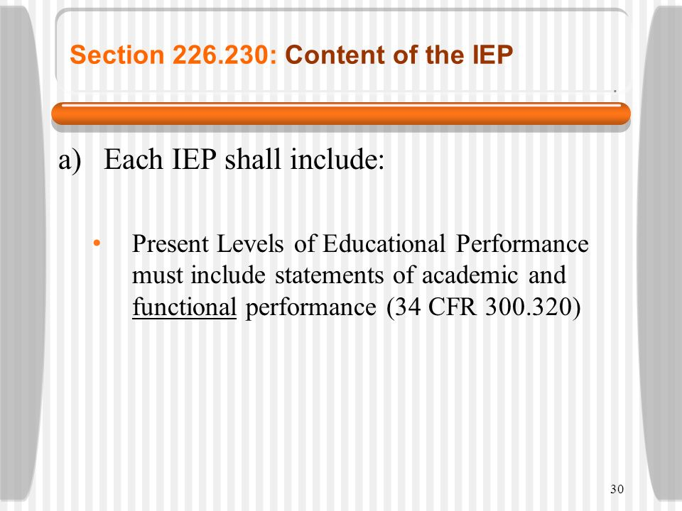30 Section 226.230: Content of the IEP a)Each IEP shall include: Present Levels of Educational Performance must include statements of academic and fun