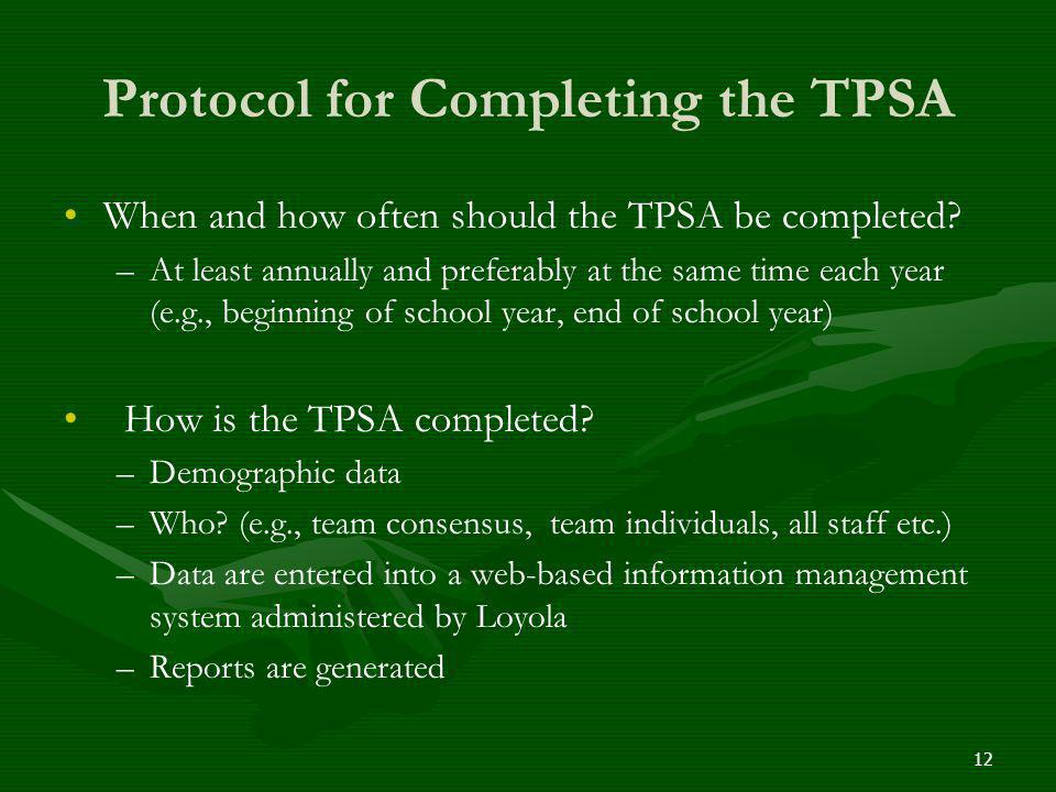Protocol for Completing the TPSA When and how often should the TPSA be completed? – –At least annually and preferably at the same time each year (e.g.
