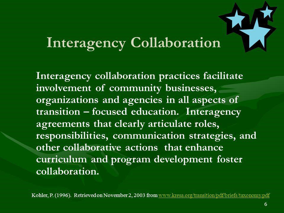 6 Kohler, P. (1996). Retrieved on November 2, 2003 from www.kresa.org/transition/pdf/briefs/taxonomy.pdfwww.kresa.org/transition/pdf/briefs/taxonomy.p