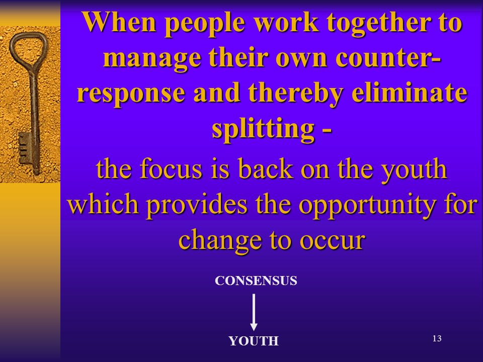 13 When people work together to manage their own counter- response and thereby eliminate splitting - the focus is back on the youth which provides the opportunity for change to occur CONSENSUS YOUTH