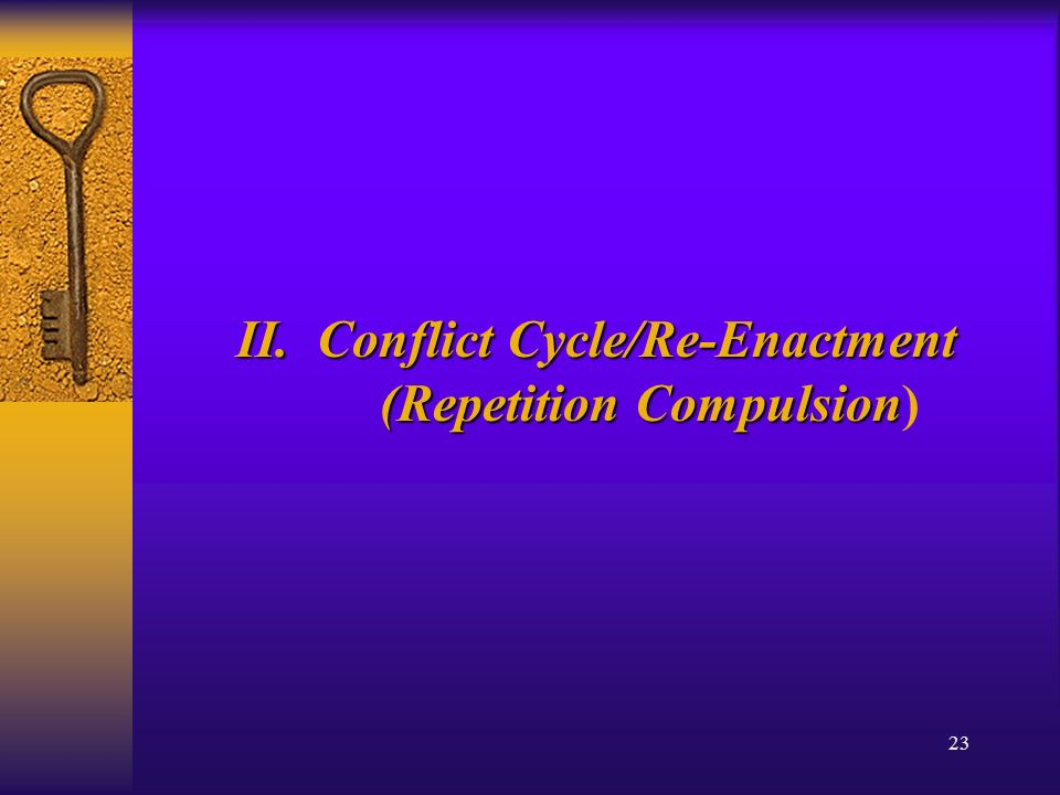 23 II. Conflict Cycle/Re-Enactment (Repetition Compulsion II.