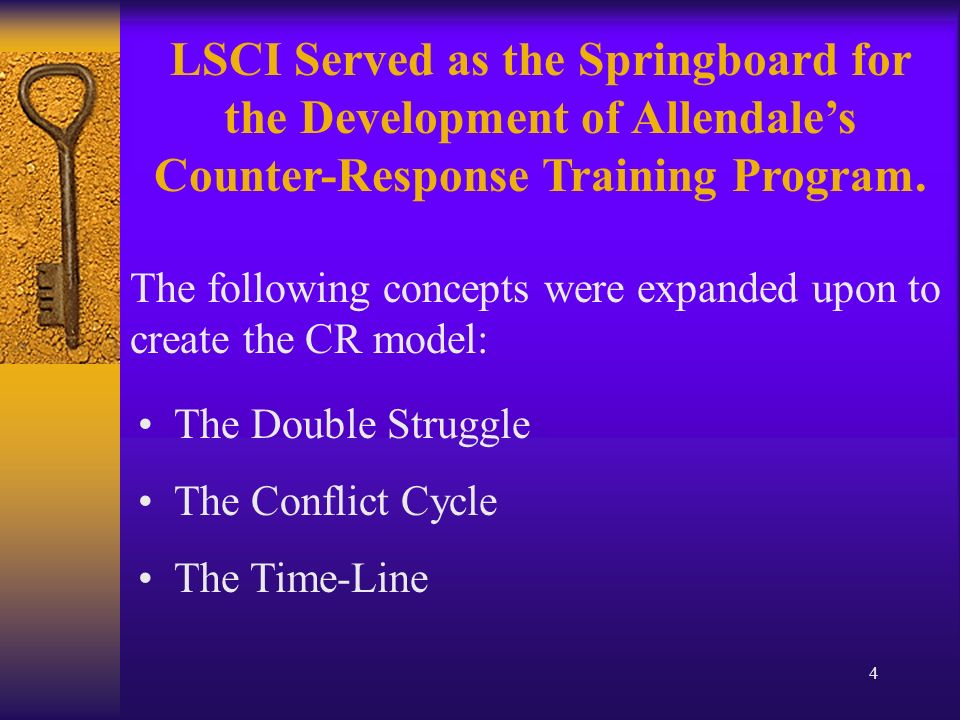 4 The Double Struggle The Conflict Cycle The Time-Line LSCI Served as the Springboard for the Development of Allendales Counter-Response Training Program.