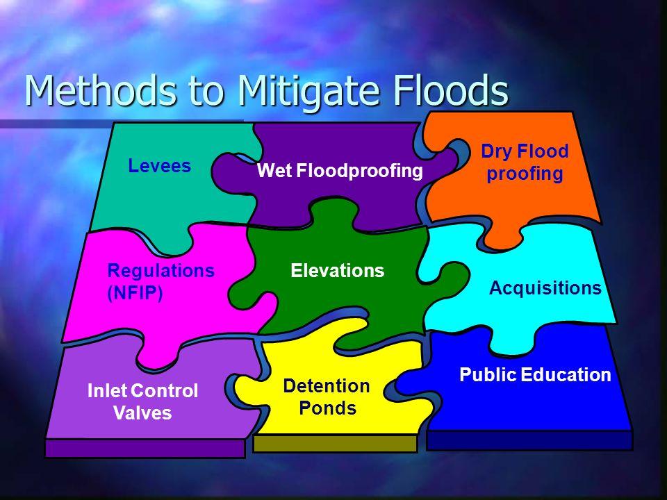 Methods to Mitigate Floods Levees Dry Flood proofing Inlet Control Valves Detention Ponds Acquisitions Public Education Regulations (NFIP) Elevations