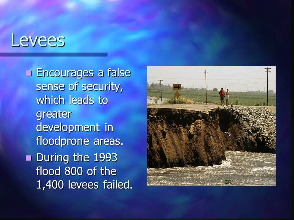 Levees Encourages a false sense of security, which leads to greater development in floodprone areas. Encourages a false sense of security, which leads