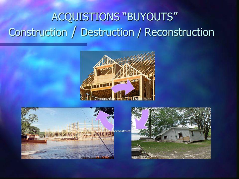 ACQUISTIONS BUYOUTS Construction / Destruction / Reconstruction ACQUISTIONS BUYOUTS Construction / Destruction / Reconstruction Destruction Reconstruc