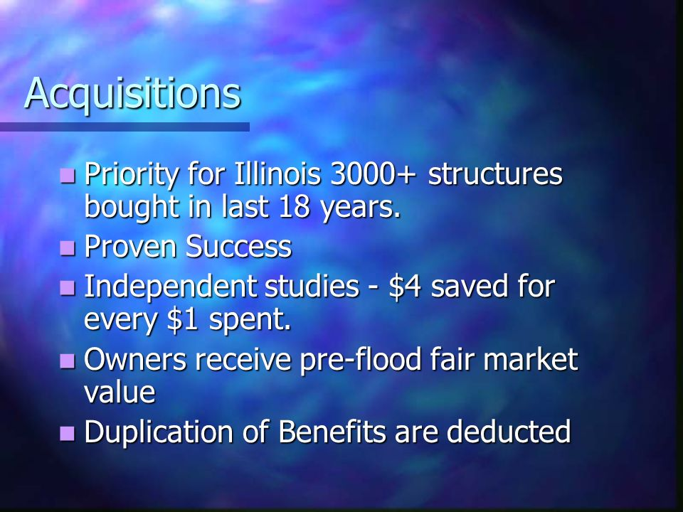 Acquisitions Priority for Illinois 3000+ structures bought in last 18 years.