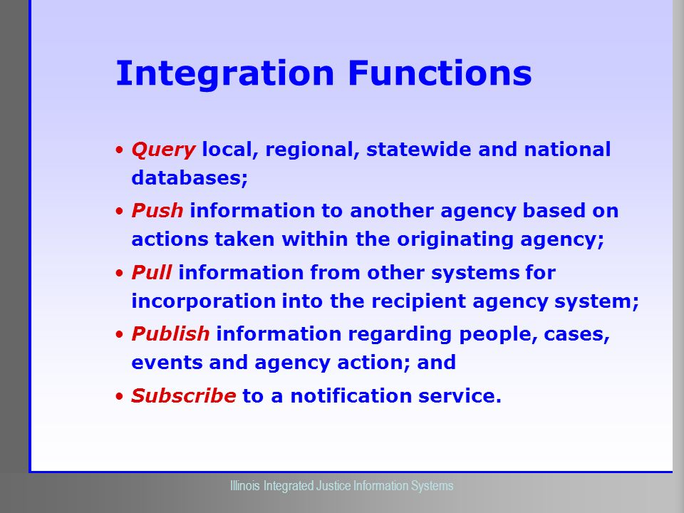 Illinois Criminal Justice Information Authority Illinois Integrated Justice Information Systems Integration Functions Query local, regional, statewide