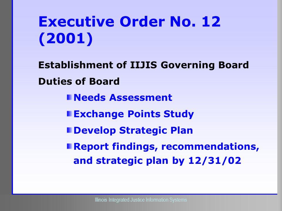 Illinois Criminal Justice Information Authority Illinois Integrated Justice Information Systems Executive Order No. 12 (2001) Establishment of IIJIS G