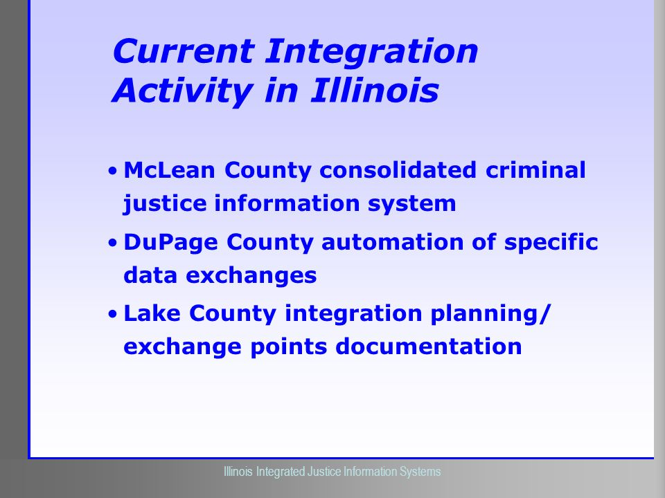 Illinois Criminal Justice Information Authority Illinois Integrated Justice Information Systems Current Integration Activity in Illinois McLean County