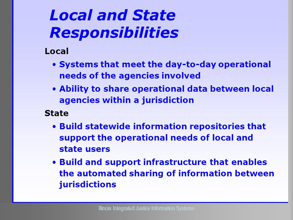 Illinois Criminal Justice Information Authority Illinois Integrated Justice Information Systems Local and State Responsibilities Local Systems that me