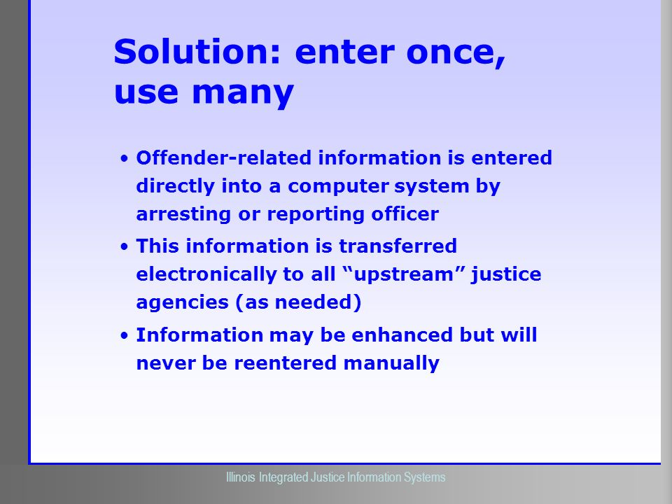 Illinois Criminal Justice Information Authority Illinois Integrated Justice Information Systems Solution: enter once, use many Offender-related inform