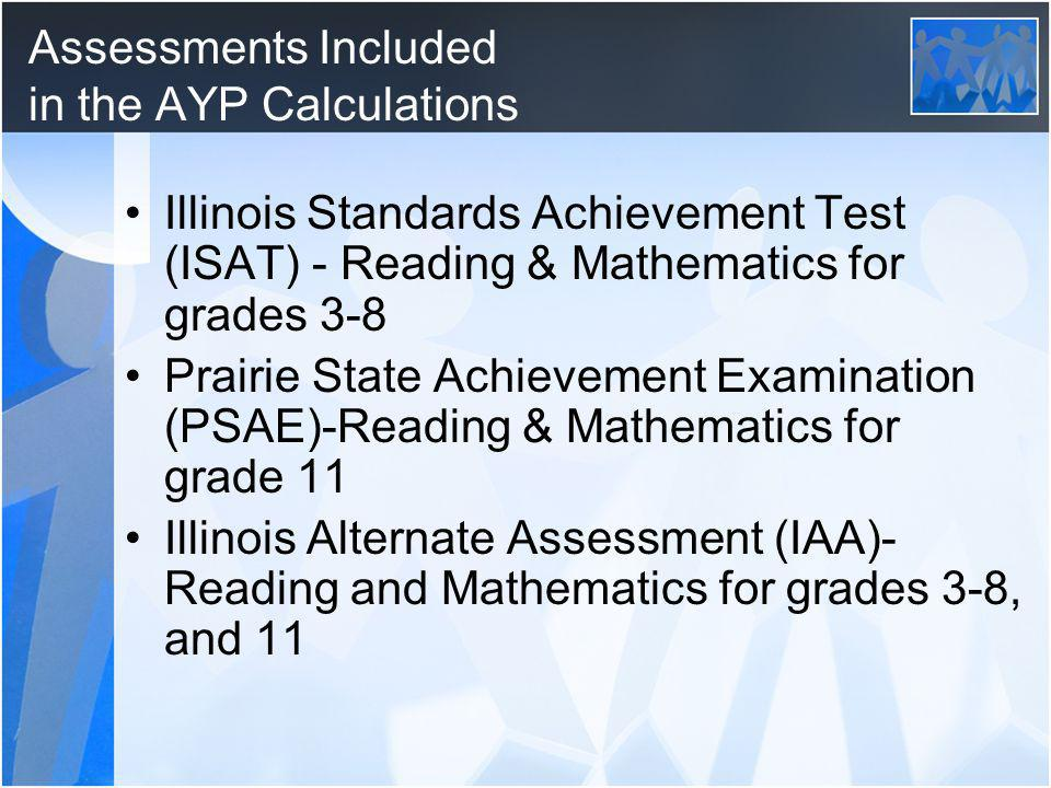 Assessments Included in the AYP Calculations Illinois Standards Achievement Test (ISAT) - Reading & Mathematics for grades 3-8 Prairie State Achievement Examination (PSAE)-Reading & Mathematics for grade 11 Illinois Alternate Assessment (IAA)- Reading and Mathematics for grades 3-8, and 11